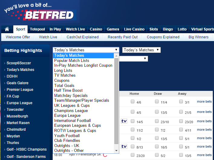 sports offered betfred
